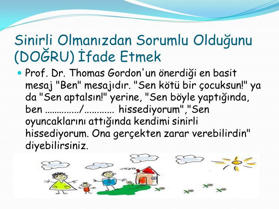 Sinirli Olmanızdan Sorumlu Olduğunu (DOĞRU) İfade Etmek Prof. Dr. Thomas Gordon'un önerdiği en basit mesaj