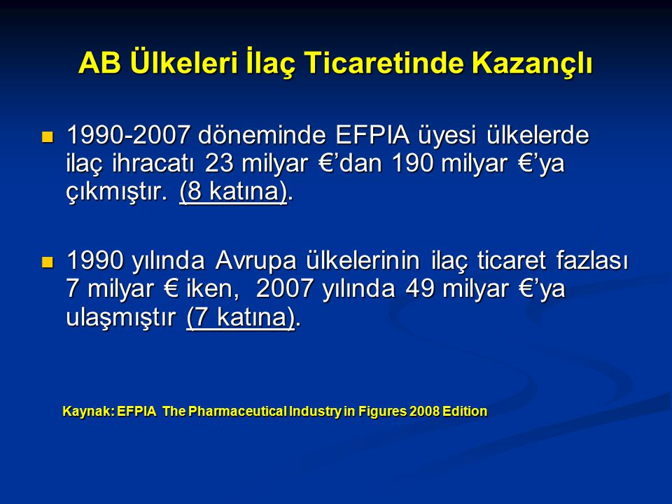 AB Ülkeleri İlaç Ticaretinde Kazançlı 1990-2007 döneminde EFPIA üyesi ülkelerde ilaç ihracatı 23 milyar €'dan 190 milyar €'ya çıkmıştır.