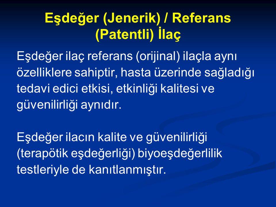 Eşdeğer (Jenerik) / Referans (Patentli) İlaç Eşdeğer ilaç referans (orijinal) ilaçla aynı özelliklere sahiptir, hasta üzerinde sağladığı tedavi edici etkisi, etkinliği kalitesi ve güvenilirliği aynıdır.