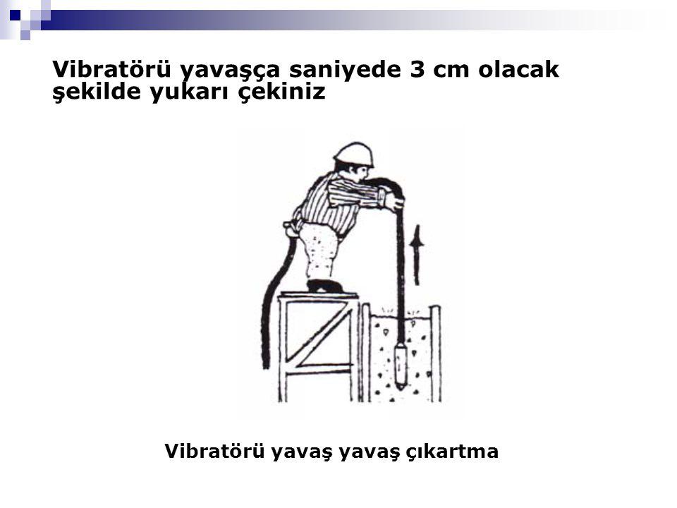 Vibratörü yavaş yavaş çıkartma Vibratörü yavaşça saniyede 3 cm olacak şekilde yukarı çekiniz