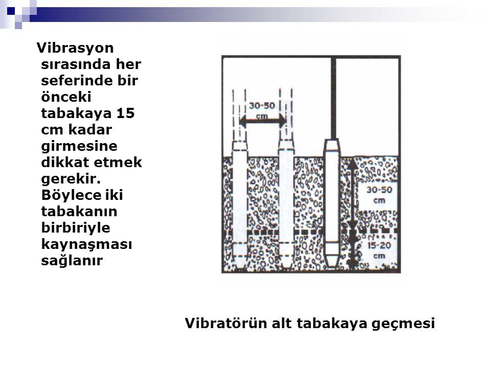Vibrasyon sırasında her seferinde bir önceki tabakaya 15 cm kadar girmesine dikkat etmek gerekir.