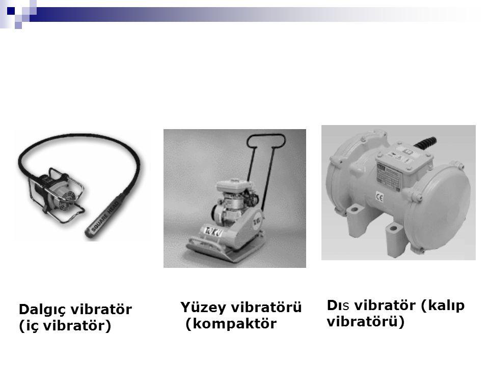 Dalgıç vibratör (iç vibratör) Yüzey vibratörü (kompaktör Dıs vibratör (kalıp vibratörü)