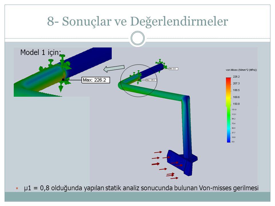 8- Sonuçlar ve Değerlendirmeler Model 1 için;  μ1 = 0,8 olduğunda yapılan statik analiz sonucunda bulunan Von-misses gerilmesi