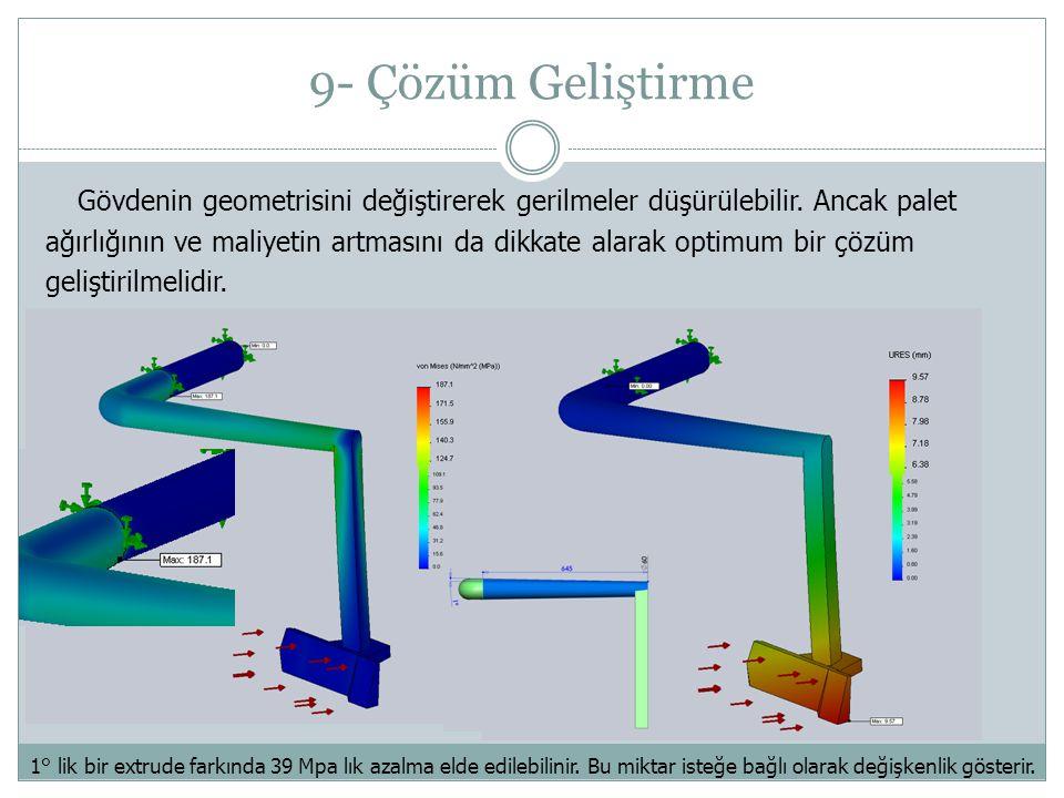 9- Çözüm Geliştirme Gövdenin geometrisini değiştirerek gerilmeler düşürülebilir.