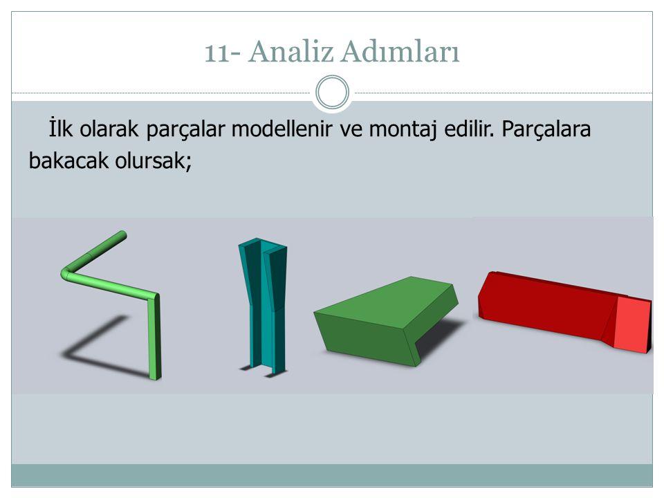 11- Analiz Adımları İlk olarak parçalar modellenir ve montaj edilir. Parçalara bakacak olursak;