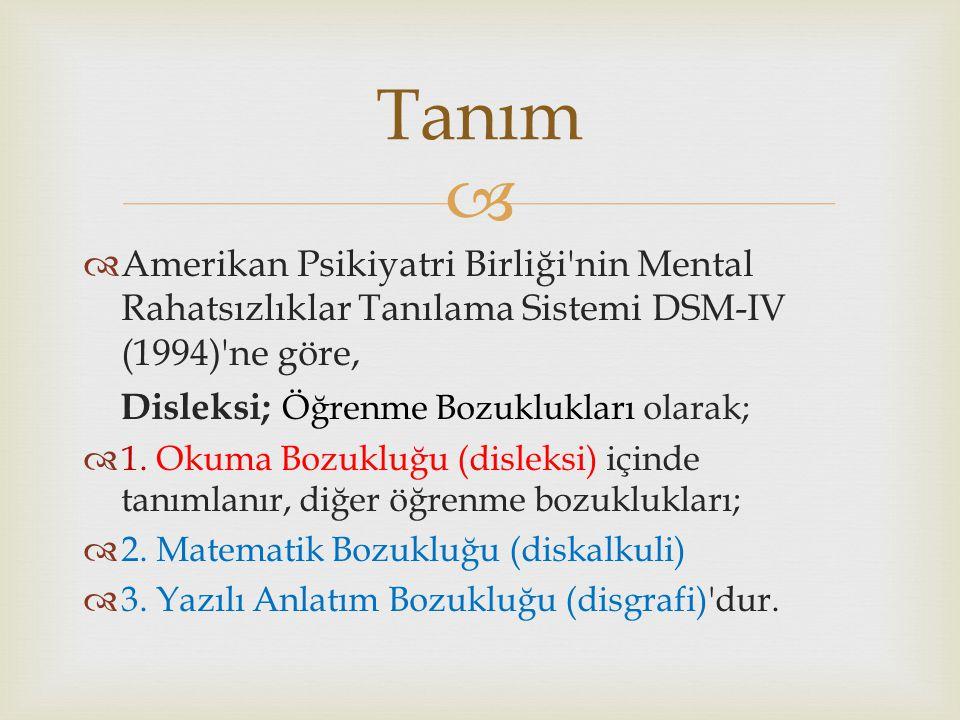   Amerikan Psikiyatri Birliği'nin Mental Rahatsızlıklar Tanılama Sistemi DSM-IV (1994)'ne göre, Disleksi; Öğrenme Bozuklukları olarak;  1. Okuma Bo