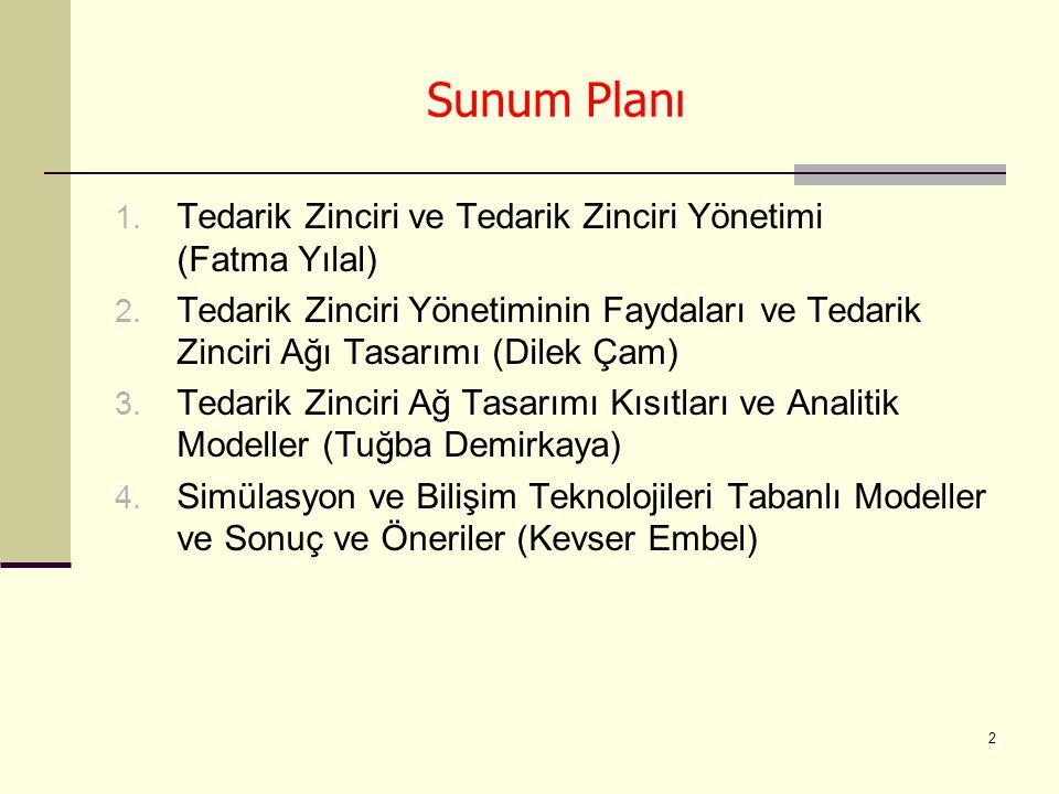 2 Sunum Planı 1. Tedarik Zinciri ve Tedarik Zinciri Yönetimi (Fatma Yılal) 2. Tedarik Zinciri Yönetiminin Faydaları ve Tedarik Zinciri Ağı Tasarımı (D