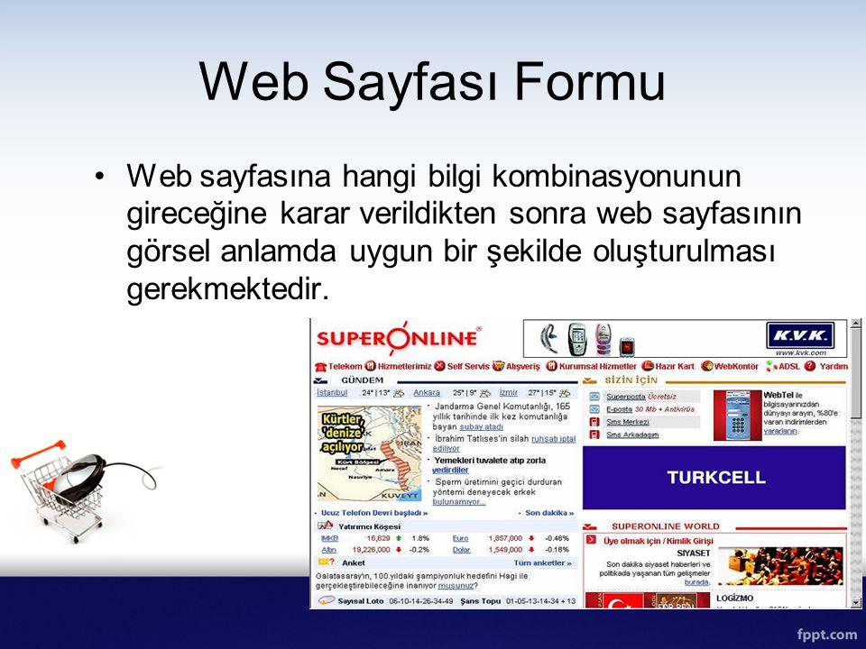 Web Sayfası Formu Web sayfasına hangi bilgi kombinasyonunun gireceğine karar verildikten sonra web sayfasının görsel anlamda uygun bir şekilde oluştur