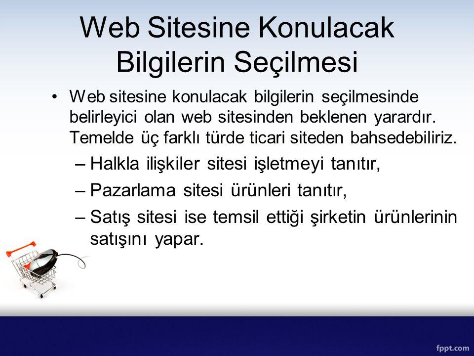 Web Sitesine Konulacak Bilgilerin Seçilmesi Web sitesine konulacak bilgilerin seçilmesinde belirleyici olan web sitesinden beklenen yarardır. Temelde
