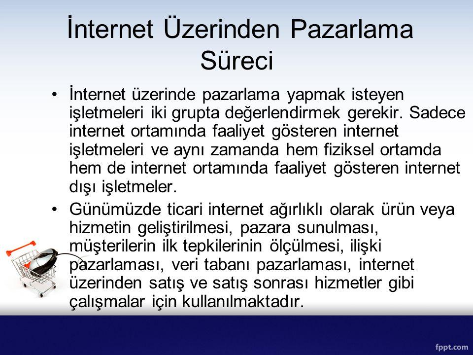 İnternet Üzerinden Pazarlama Süreci İnternet üzerinde pazarlama yapmak isteyen işletmeleri iki grupta değerlendirmek gerekir. Sadece internet ortamınd