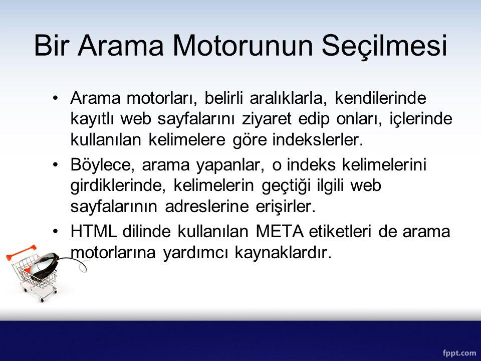 Arama motorları, belirli aralıklarla, kendilerinde kayıtlı web sayfalarını ziyaret edip onları, içlerinde kullanılan kelimelere göre indekslerler. Böy