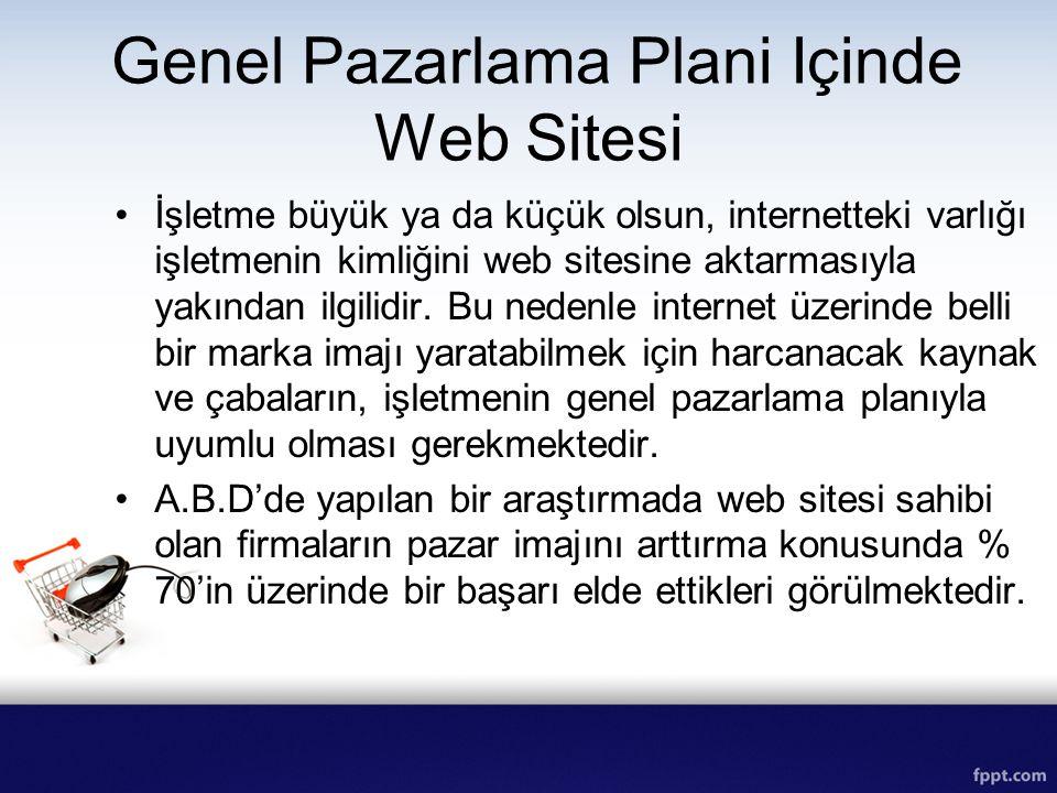 Genel Pazarlama Plani Içinde Web Sitesi İşletme büyük ya da küçük olsun, internetteki varlığı işletmenin kimliğini web sitesine aktarmasıyla yakından