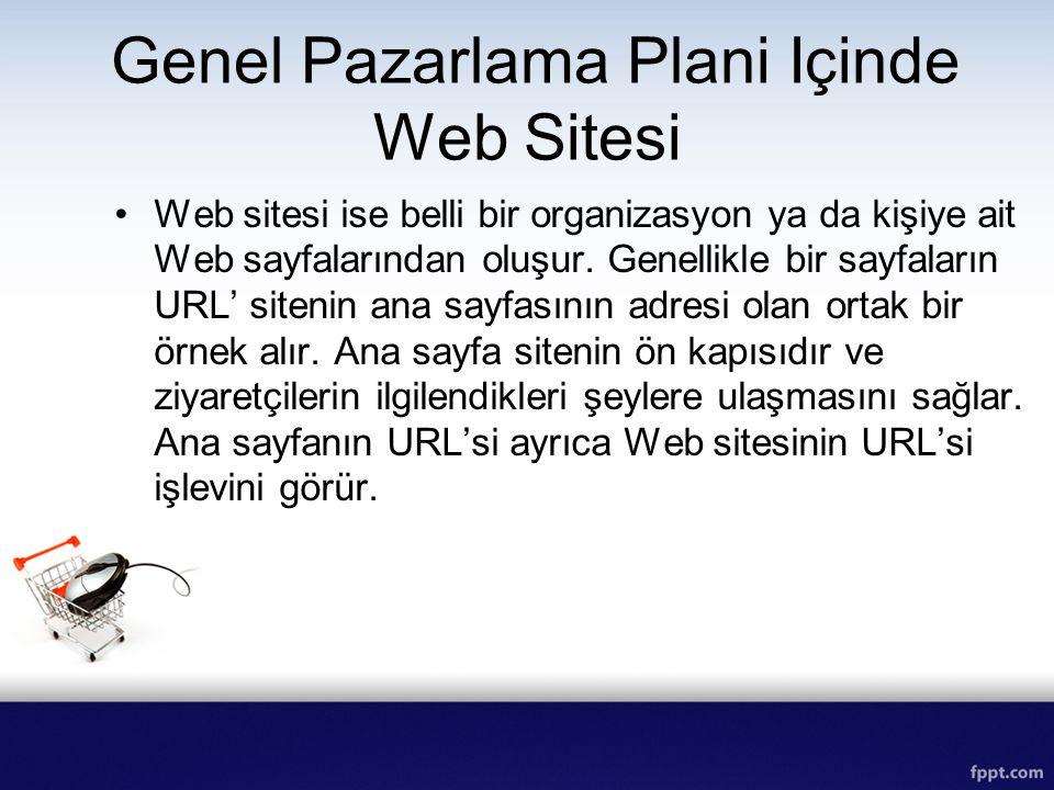 Genel Pazarlama Plani Içinde Web Sitesi Web sitesi ise belli bir organizasyon ya da kişiye ait Web sayfalarından oluşur. Genellikle bir sayfaların URL