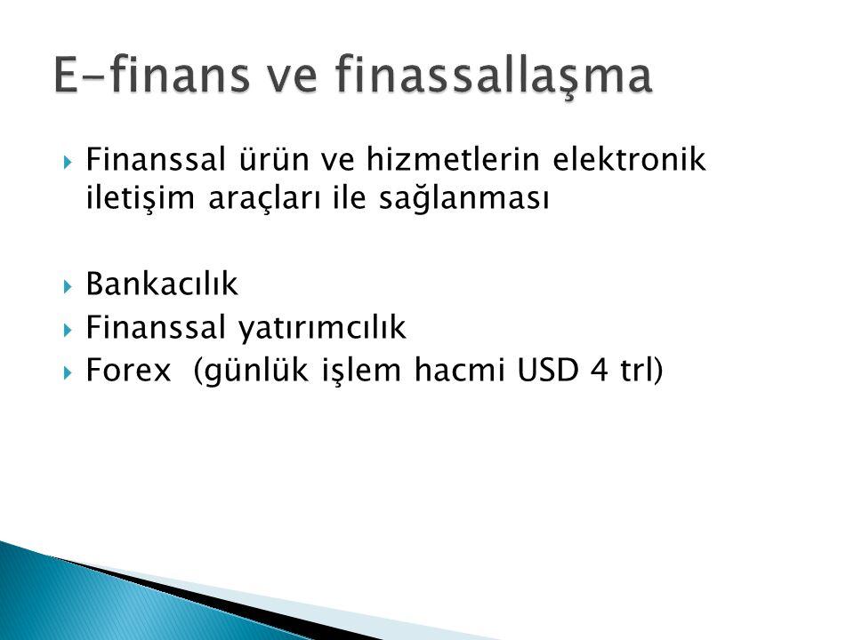  Finanssal ürün ve hizmetlerin elektronik iletişim araçları ile sağlanması  Bankacılık  Finanssal yatırımcılık  Forex (günlük işlem hacmi USD 4 trl)