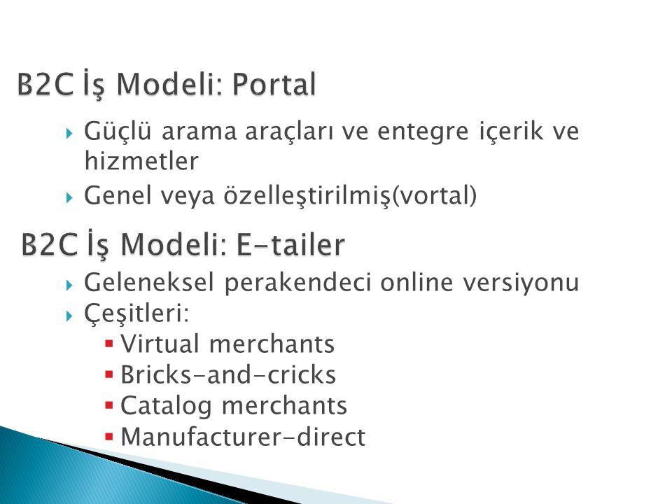  Güçlü arama araçları ve entegre içerik ve hizmetler  Genel veya özelleştirilmiş(vortal)  Geleneksel perakendeci online versiyonu  Çeşitleri:  Virtual merchants  Bricks-and-cricks  Catalog merchants  Manufacturer-direct
