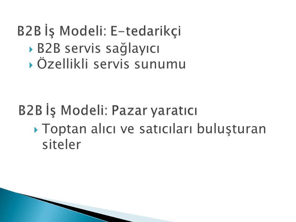  B2B servis sağlayıcı  Özellikli servis sunumu  Toptan alıcı ve satıcıları buluşturan siteler