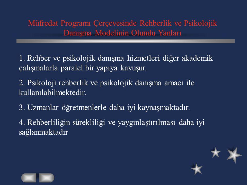 Müfredat Programı Çerçevesinde Rehberlik ve Psikolojik Danışma Modelinin Olumlu Yanları 1. Rehber ve psikolojik danışma hizmetleri diğer akademik çalı
