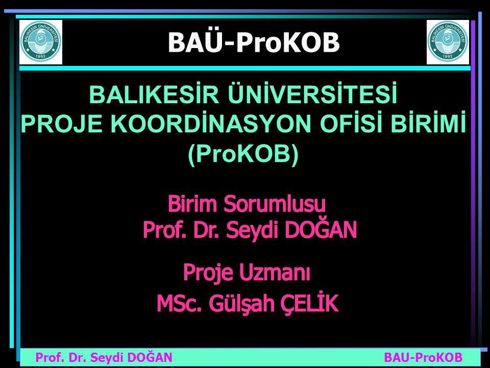 Prof. Dr. Seydi DOĞAN BAU-ProKOB BAÜ-ProKOB BALIKESİR ÜNİVERSİTESİ PROJE KOORDİNASYON OFİSİ BİRİMİ (ProKOB)