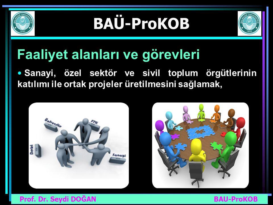 Prof. Dr. Seydi DOĞAN BAU-ProKOB BAÜ-ProKOB Faaliyet alanları ve görevleri Sanayi, özel sektör ve sivil toplum örgütlerinin katılımı ile ortak projele