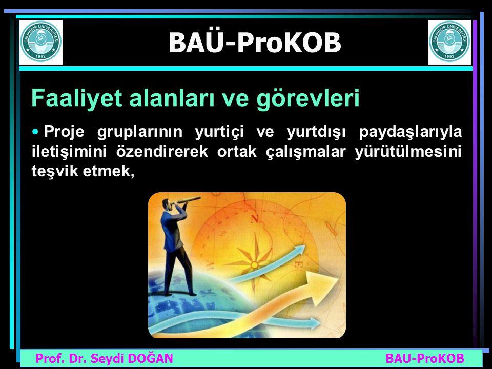 Prof. Dr. Seydi DOĞAN BAU-ProKOB BAÜ-ProKOB Faaliyet alanları ve görevleri Proje gruplarının yurtiçi ve yurtdışı paydaşlarıyla iletişimini özendirerek