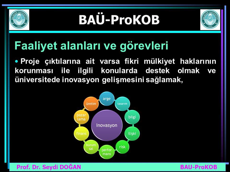 Prof. Dr. Seydi DOĞAN BAU-ProKOB BAÜ-ProKOB Faaliyet alanları ve görevleri Proje çıktılarına ait varsa fikri mülkiyet haklarının korunması ile ilgili
