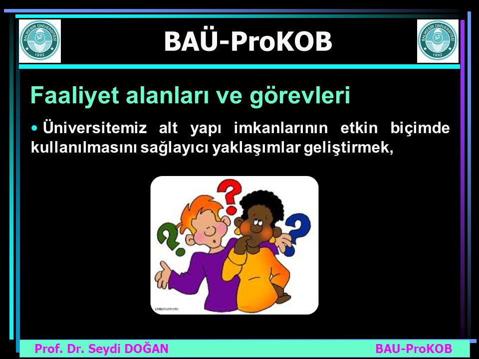 Prof. Dr. Seydi DOĞAN BAU-ProKOB BAÜ-ProKOB Faaliyet alanları ve görevleri Üniversitemiz alt yapı imkanlarının etkin biçimde kullanılmasını sağlayıcı