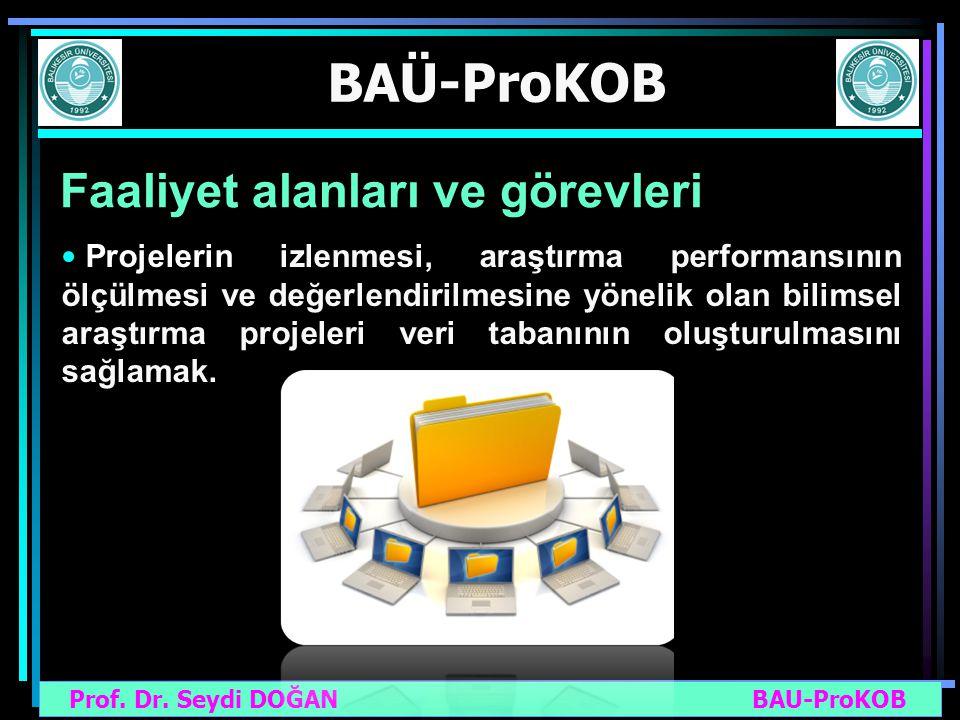 Prof. Dr. Seydi DOĞAN BAU-ProKOB BAÜ-ProKOB Faaliyet alanları ve görevleri Projelerin izlenmesi, araştırma performansının ölçülmesi ve değerlendirilme