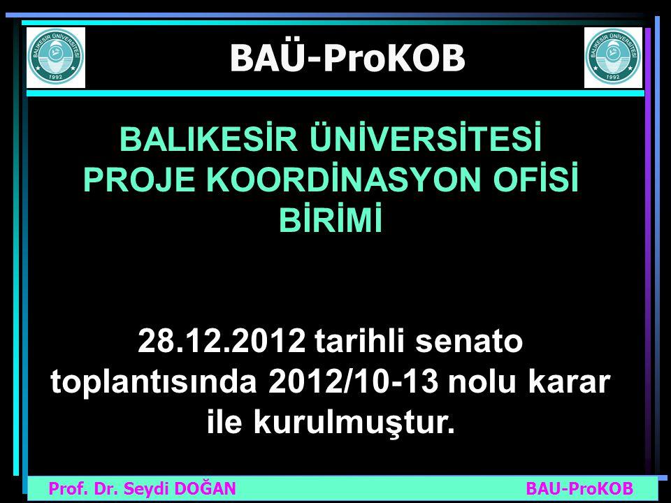 Prof. Dr. Seydi DOĞAN BAU-ProKOB BAÜ-ProKOB BALIKESİR ÜNİVERSİTESİ PROJE KOORDİNASYON OFİSİ BİRİMİ 28.12.2012 tarihli senato toplantısında 2012/10-13