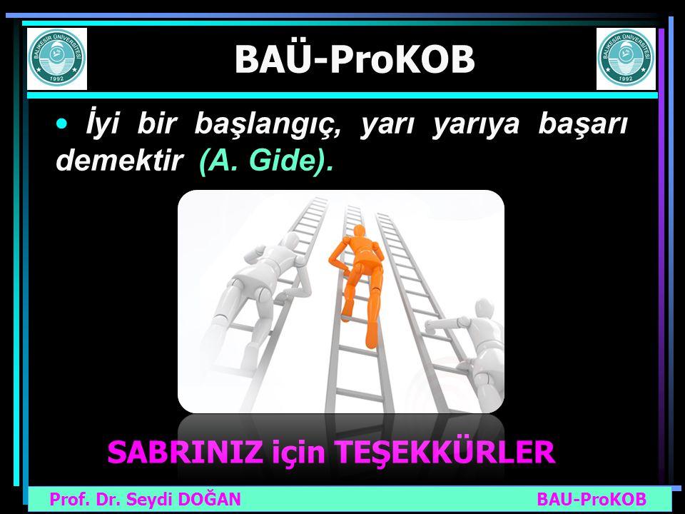 Prof. Dr. Seydi DOĞAN BAU-ProKOB BAÜ-ProKOB SABRINIZ için TEŞEKKÜRLER İyi bir başlangıç, yarı yarıya başarı demektir (A. Gide).