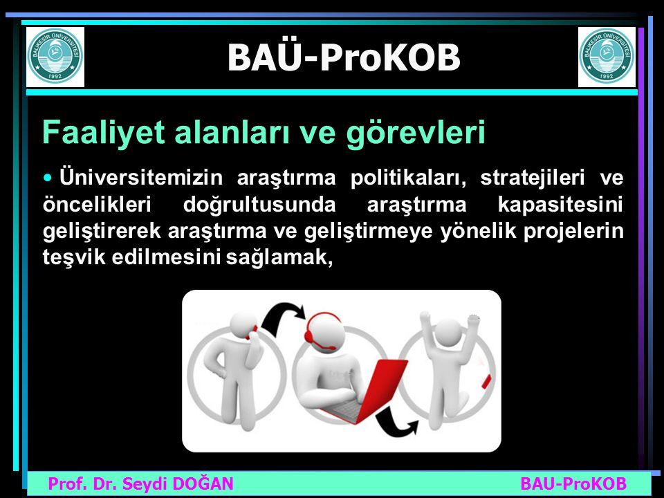Prof. Dr. Seydi DOĞAN BAU-ProKOB BAÜ-ProKOB Faaliyet alanları ve görevleri Üniversitemizin araştırma politikaları, stratejileri ve öncelikleri doğrult