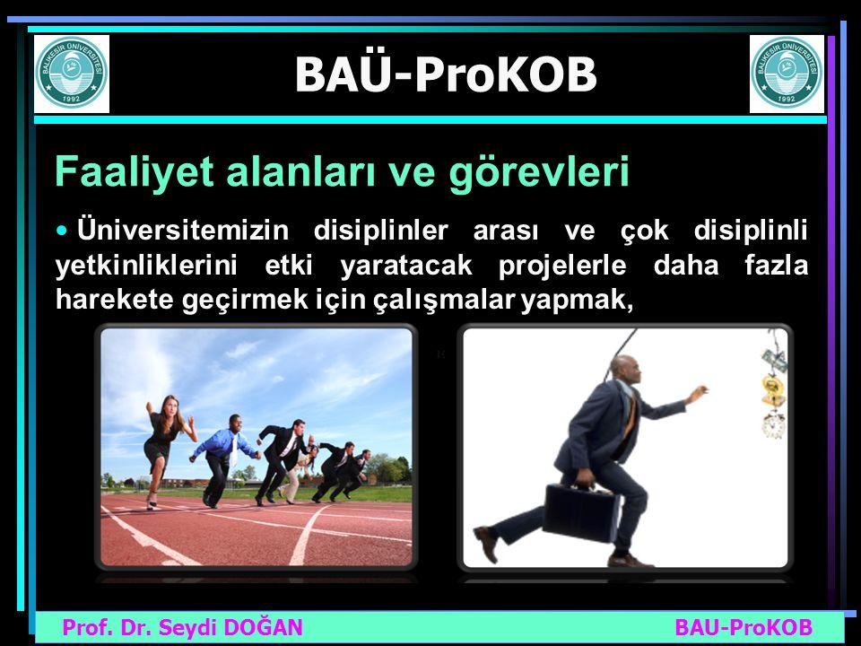Prof. Dr. Seydi DOĞAN BAU-ProKOB BAÜ-ProKOB Faaliyet alanları ve görevleri Üniversitemizin disiplinler arası ve çok disiplinli yetkinliklerini etki ya