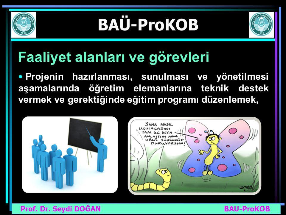 Prof. Dr. Seydi DOĞAN BAU-ProKOB BAÜ-ProKOB Faaliyet alanları ve görevleri Projenin hazırlanması, sunulması ve yönetilmesi aşamalarında öğretim eleman