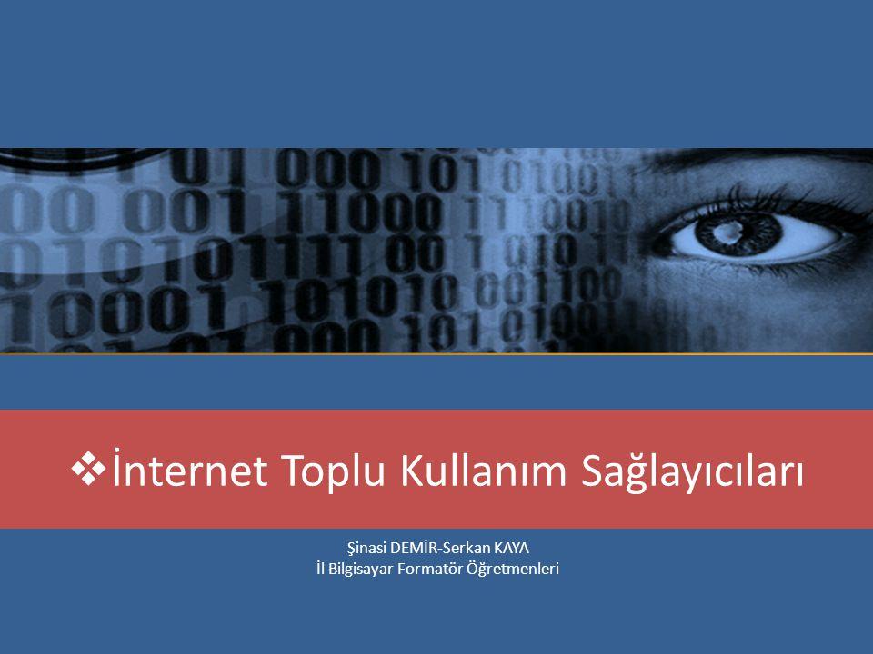 Mevcut durum itibariyle, kamu kurum ve kuruluşları ile kamu kurumu niteliğindeki meslek kuruluşları, İnternet Toplu Kullanım Sağlayıcıları olarak değerlendirilmektedir.