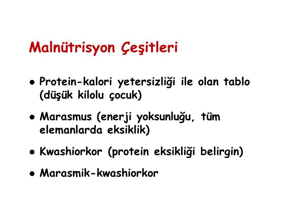 Malnütrisyon Çeşitleri Protein-kalori yetersizliği ile olan tablo (düşük kilolu çocuk) Marasmus (enerji yoksunluğu, tüm elemanlarda eksiklik) Kwashior