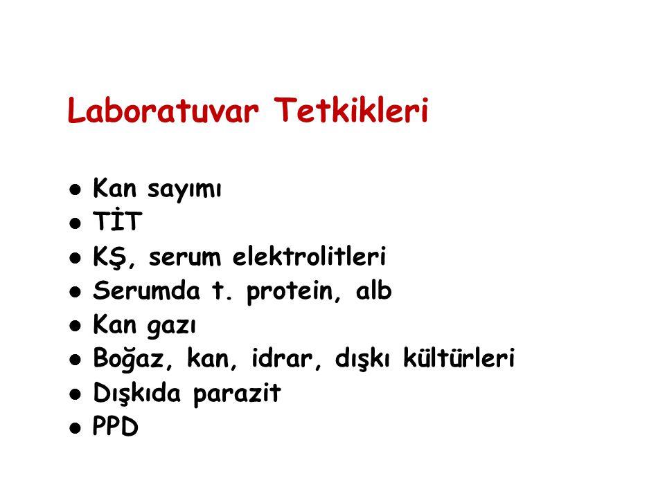 Laboratuvar Tetkikleri Kan sayımı TİT KŞ, serum elektrolitleri Serumda t. protein, alb Kan gazı Boğaz, kan, idrar, dışkı kültürleri Dışkıda parazit PP