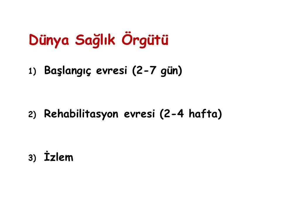 Dünya Sağlık Örgütü 1) Başlangıç evresi (2-7 gün) 2) Rehabilitasyon evresi (2-4 hafta) 3) İzlem