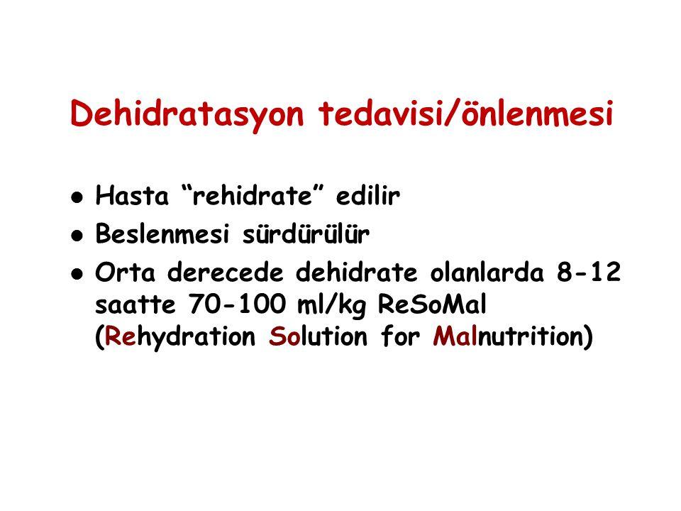 """Dehidratasyon tedavisi/önlenmesi Hasta """"rehidrate"""" edilir Beslenmesi sürdürülür Orta derecede dehidrate olanlarda 8-12 saatte 70-100 ml/kg ReSoMal (Re"""