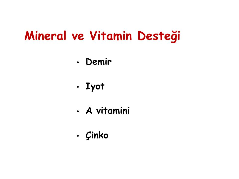 Demir Iyot A vitamini Çinko Mineral ve Vitamin Desteği