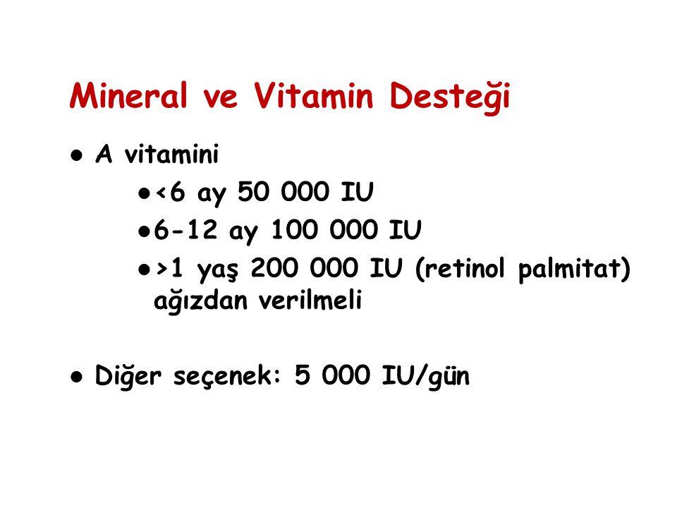A vitamini <6 ay 50 000 IU 6-12 ay 100 000 IU >1 yaş 200 000 IU (retinol palmitat) ağızdan verilmeli Diğer seçenek: 5 000 IU/gün Mineral ve Vitamin De