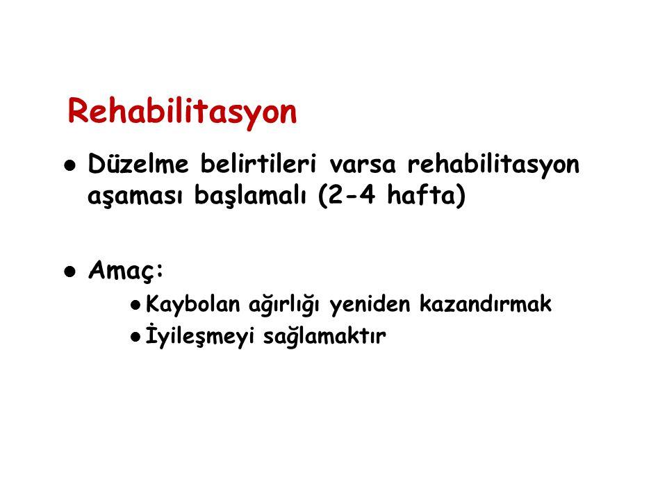 Rehabilitasyon Düzelme belirtileri varsa rehabilitasyon aşaması başlamalı (2-4 hafta) Amaç: Kaybolan ağırlığı yeniden kazandırmak İyileşmeyi sağlamakt