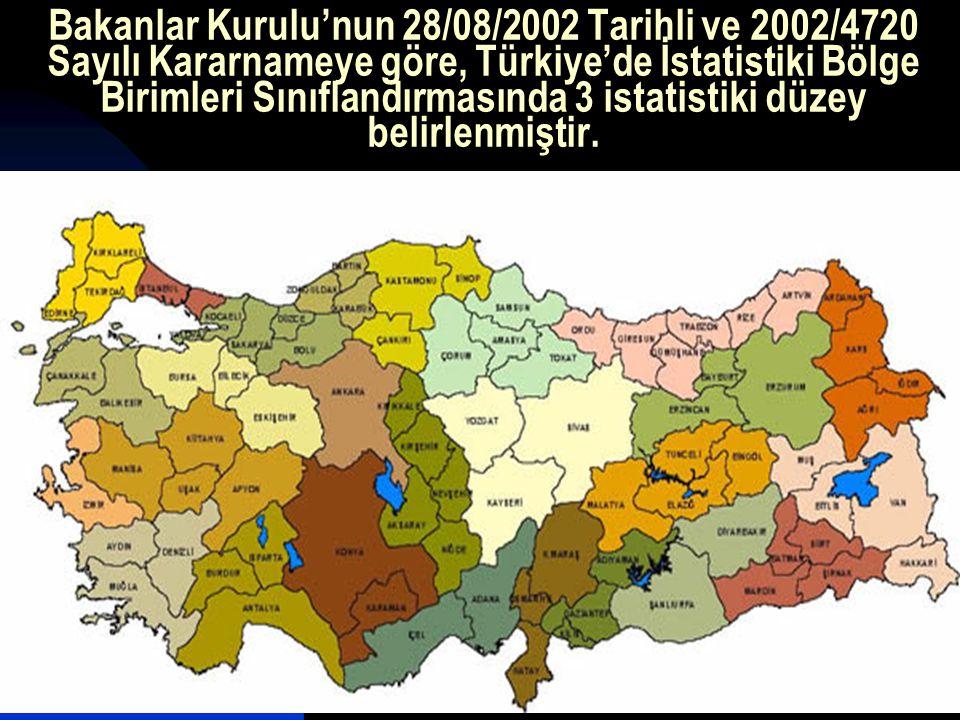Bakanlar Kurulu'nun 28/08/2002 Tarihli ve 2002/4720 Sayılı Kararnameye göre, Türkiye'de İstatistiki Bölge Birimleri Sınıflandırmasında 3 istatistiki d