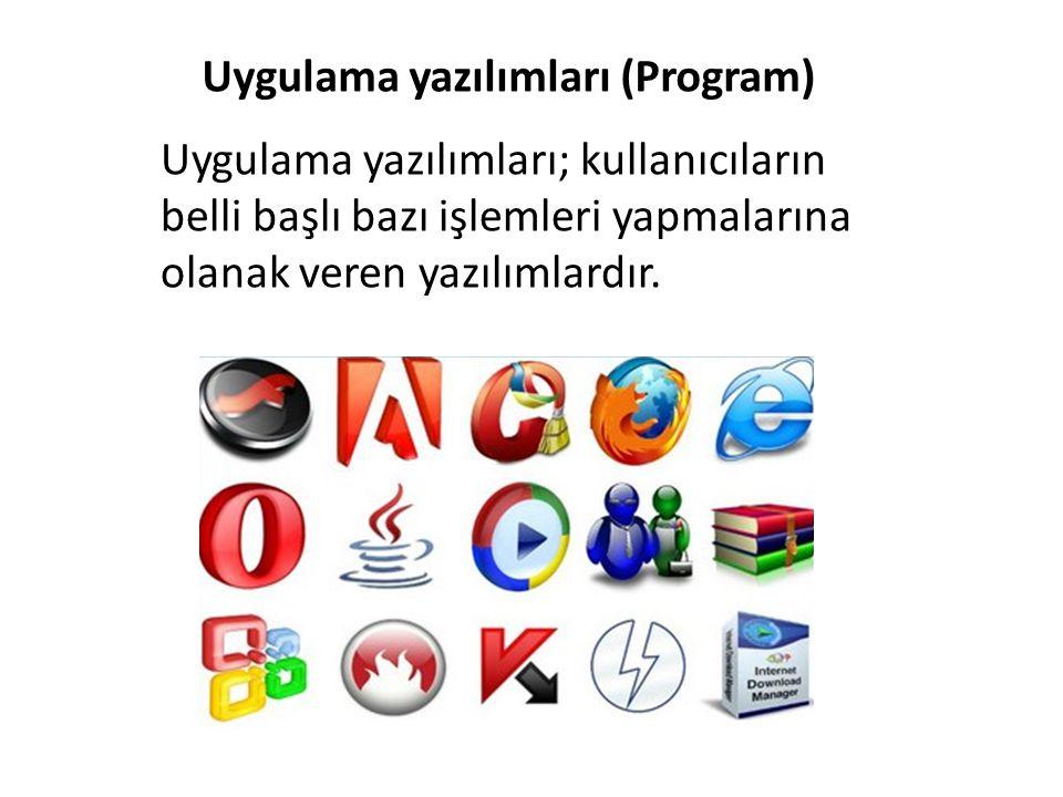 Uygulama yazılımları (Program) Uygulama yazılımları; kullanıcıların belli başlı bazı işlemleri yapmalarına olanak veren yazılımlardır.