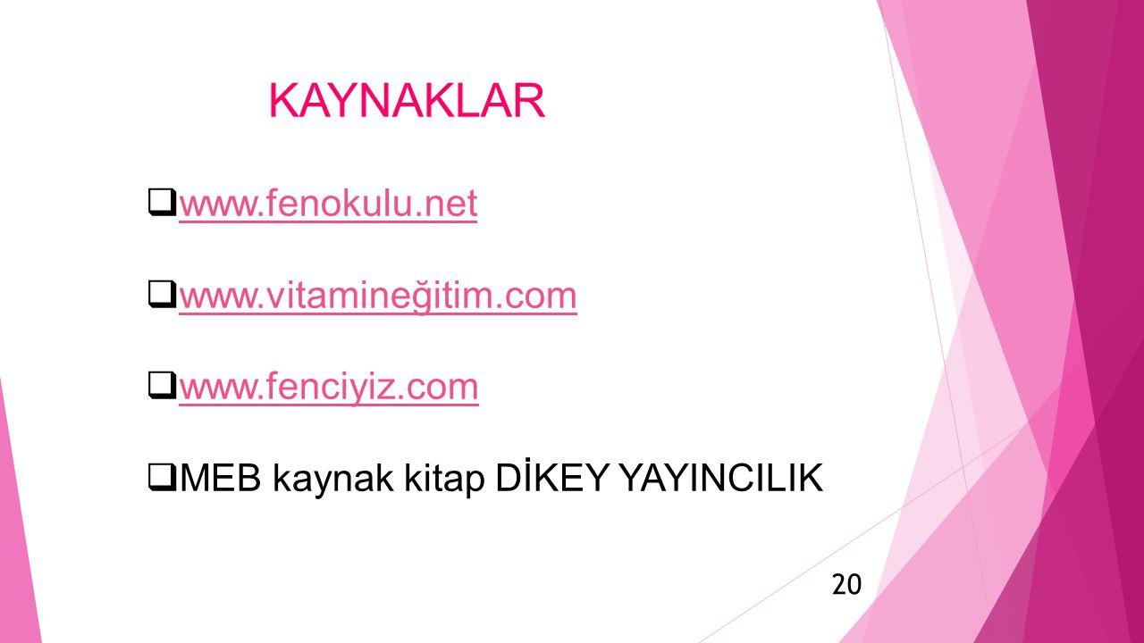 20  www.fenokulu.net www.fenokulu.net  www.vitamineğitim.com www.vitamineğitim.com  www.fenciyiz.com www.fenciyiz.com  MEB kaynak kitap DİKEY YAYI
