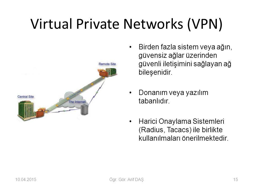 Virtual Private Networks (VPN) Birden fazla sistem veya ağın, güvensiz ağlar üzerinden güvenli iletişimini sağlayan ağ bileşenidir. Donanım veya yazıl
