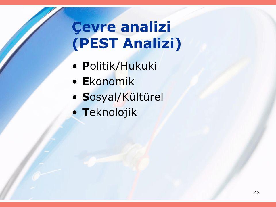 48 Çevre analizi (PEST Analizi) Politik/Hukuki Ekonomik Sosyal/Kültürel Teknolojik