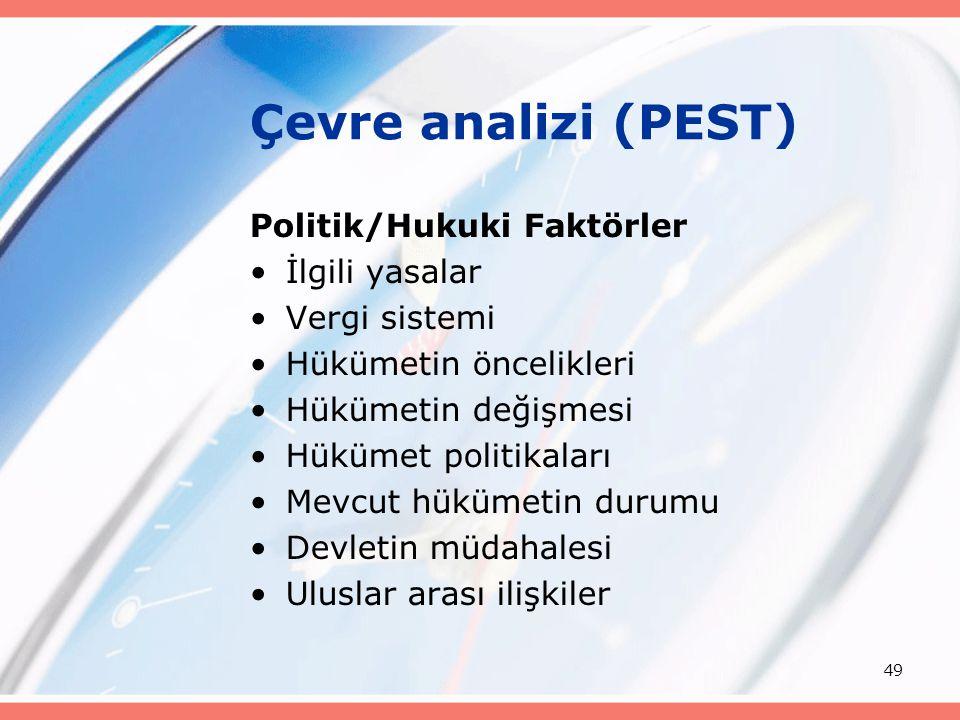 49 Çevre analizi (PEST) Politik/Hukuki Faktörler İlgili yasalar Vergi sistemi Hükümetin öncelikleri Hükümetin değişmesi Hükümet politikaları Mevcut hü