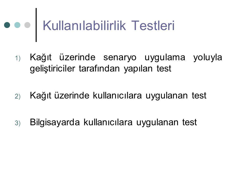 Kullanılabilirlik Testleri 1) Kağıt üzerinde senaryo uygulama yoluyla geliştiriciler tarafından yapılan test 2) Kağıt üzerinde kullanıcılara uygulanan test 3) Bilgisayarda kullanıcılara uygulanan test