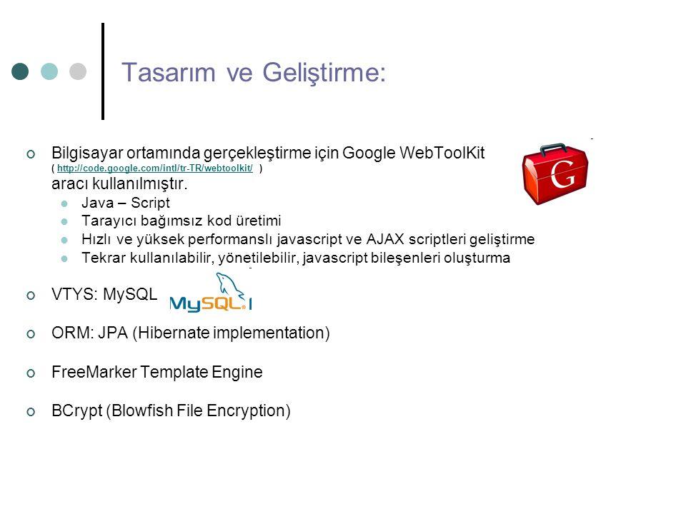 Tasarım ve Geliştirme: Bilgisayar ortamında gerçekleştirme için Google WebToolKit ( http://code.google.com/intl/tr-TR/webtoolkit/ )http://code.google.com/intl/tr-TR/webtoolkit/ aracı kullanılmıştır.