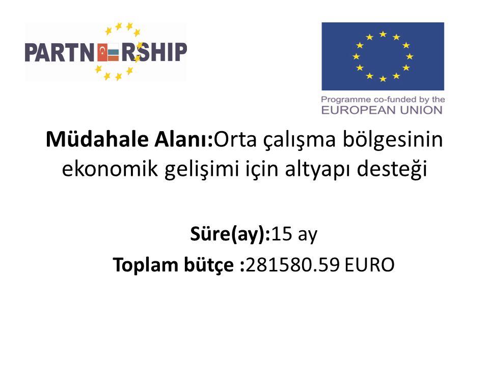 Müdahale Alanı:Orta çalışma bölgesinin ekonomik gelişimi için altyapı desteği Süre(ay):15 ay Toplam bütçe :281580.59 EURO