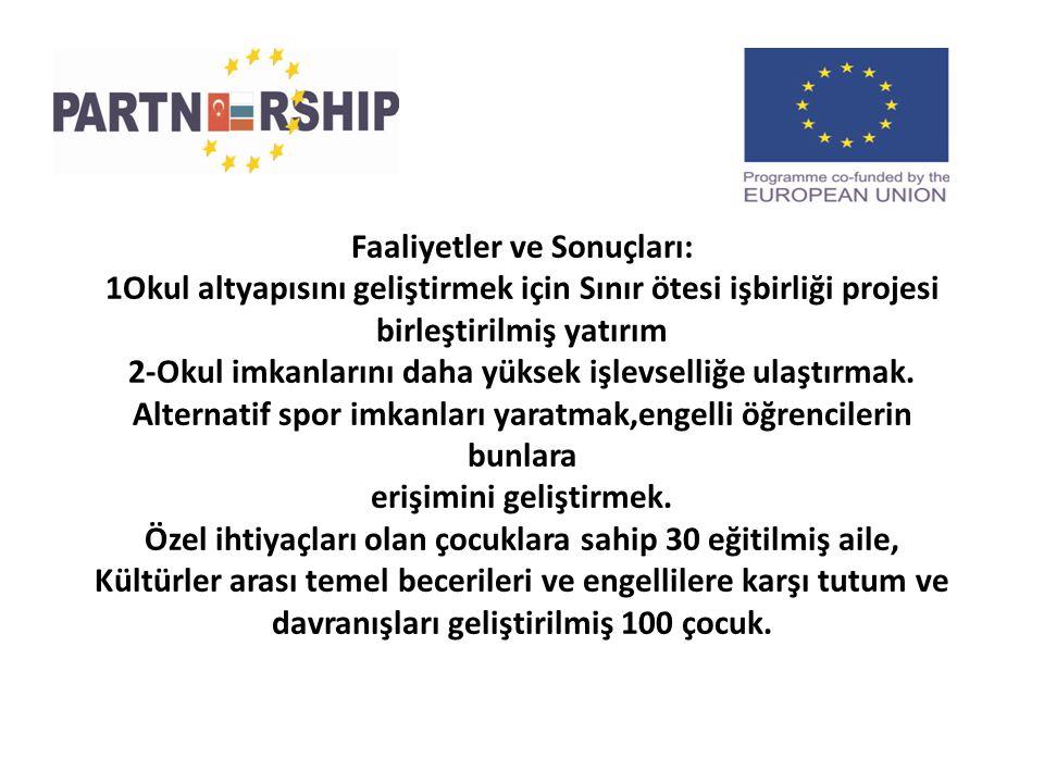 Faaliyetler ve Sonuçları: 1Okul altyapısını geliştirmek için Sınır ötesi işbirliği projesi birleştirilmiş yatırım 2-Okul imkanlarını daha yüksek işlevselliğe ulaştırmak.